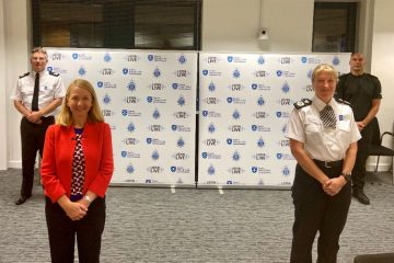 L to R: Assistant Chief Constable Dave Miller; Police and Crime Commissioner Katy Bourne; Chief Constable Jo Shiner; and Chief Inspector Michael Hodder on Eastbourne Bournefree website