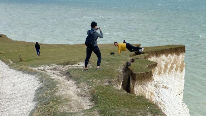 Birling Gap cliff edge image on Bournefree Live news website