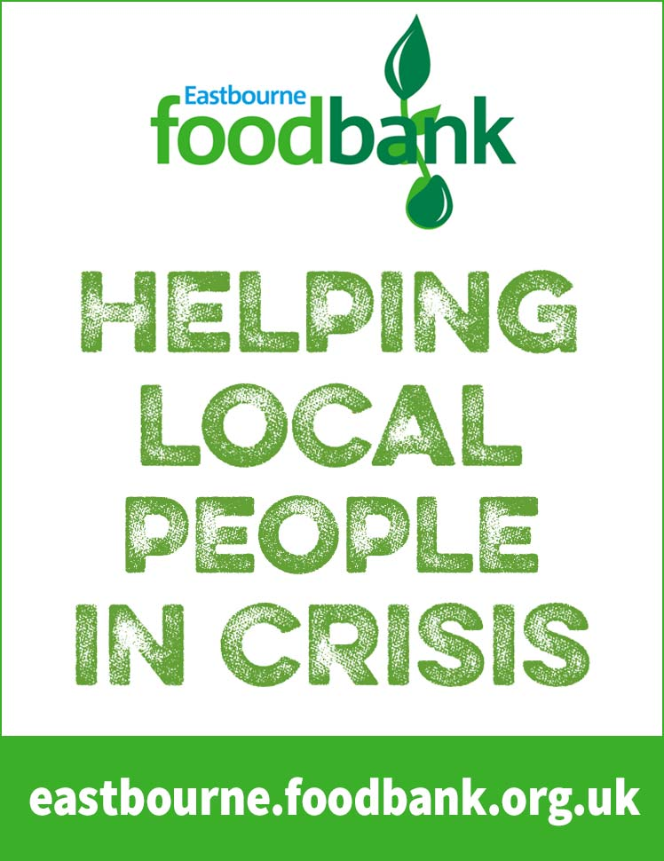 Eastbourne Foodbank advert on Bournefree Live news website