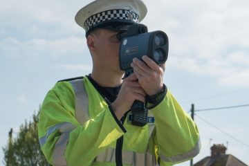 Policeman with speed camera image on Bournefree Live news website