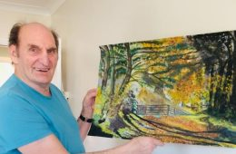 Eastbourne care home resident with Parkinson's disease on how painting helps him on Bournefree website
