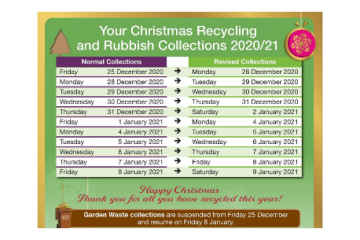 Christmas rubbish and recycling collection dates confirmed on Bournefree website, for Wealden District Council