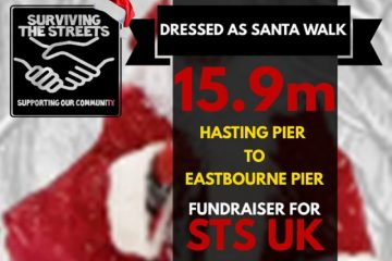 Santa is walking from pier to pier today for homeless charity on Bournefree website. Surviving The Streets charity from Hastings |Pier to Eastbourne Pier
