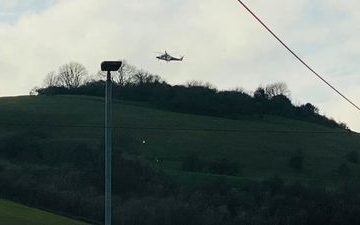 Helicopter lands near Butts Brow after accident this afternoon on Eastbourne Bournefree website