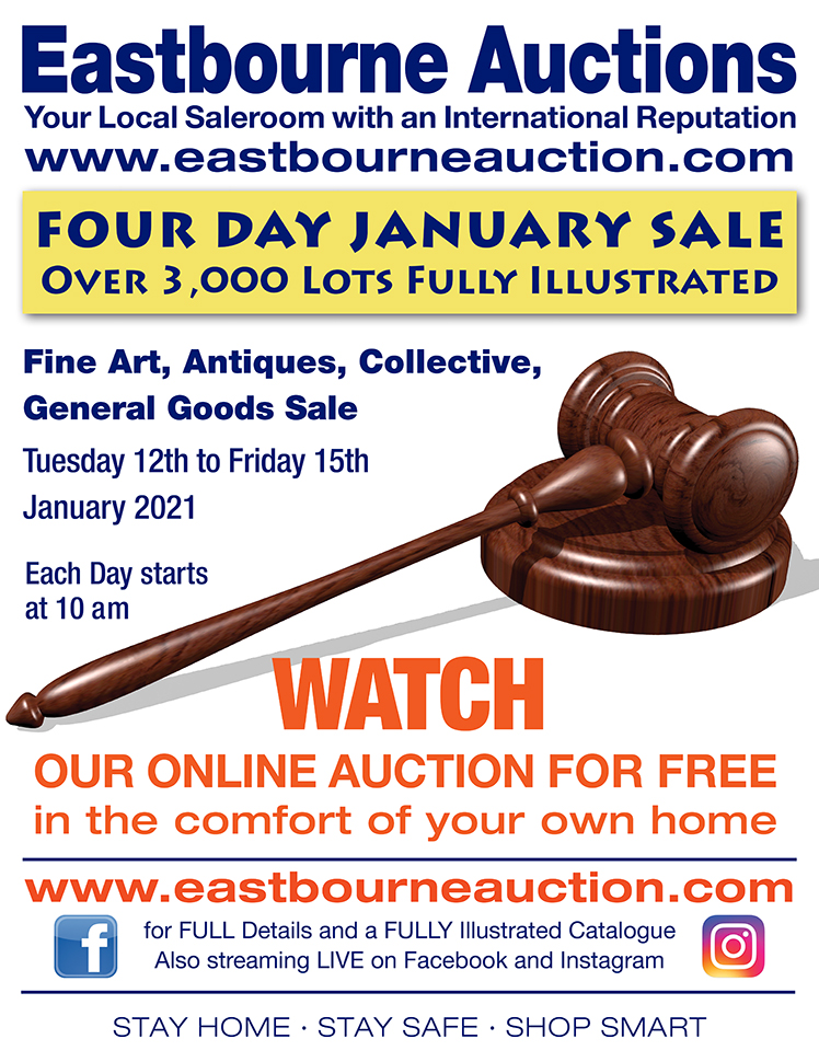 Eastbourne Auctions January advert on Bournefree Live news website