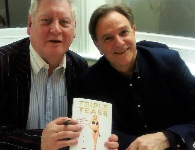 Tony Flood, left, with Coronation Street star Brian Capron on Eastbourne Bournefree magazine