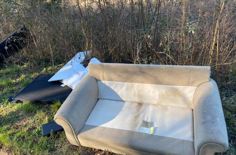 Mattresses, sofa, bed and tables dumped on the roadside overnight on Eastbourne Bournefree website