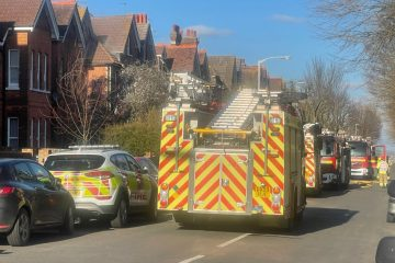 Saturday 3pm: Police at fire in Eastbourne Town Centre on Eastbourne Bournefree website