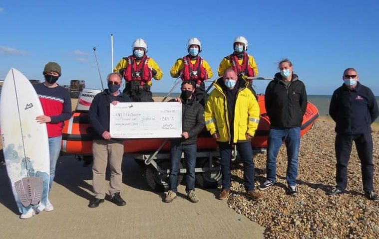 Heroes who helped crew in Belle Tout rescue donate £2,821.17 to Eastbourne RNLI on Eastbourne Bournefree live website