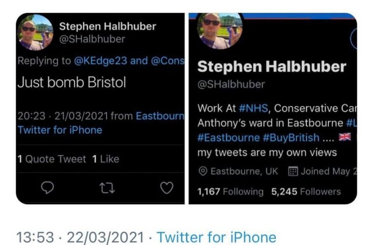 'Just Bomb Bristol' candidate suspended by Eastbourne Tories on Eastbourne Bournefree website