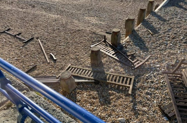 More benches damaged at Holywell this weekend on Eastbourne Bournefree website