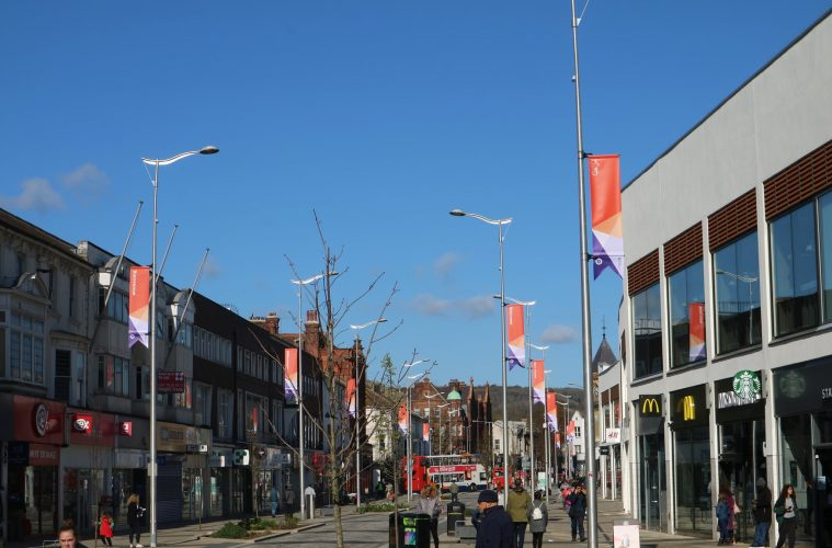 New banners on show in Eastbourne Town Centre on Eastbourne Bournefree website