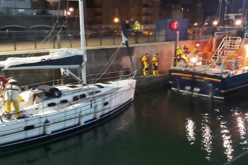 Eastbourne RNLI called out at 1.30am today to rescue three people on yacht on Eastbourne Bournefree website