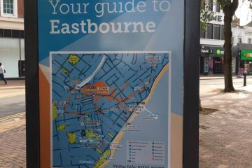 New maps and paint for signs outside M&S, Duke of Devonshire and TJ Hughes on Eastbourne Bournefree website