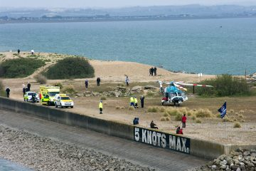 Ambulance, air ambulance and coastguards deal with incident at Sovereign Harbour this afternoon on Eastbourne Bournefree website