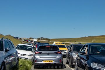 Road 'turned into an impromptu public car park' yesterday at Birling Gap on Eastbourne Bournefree website