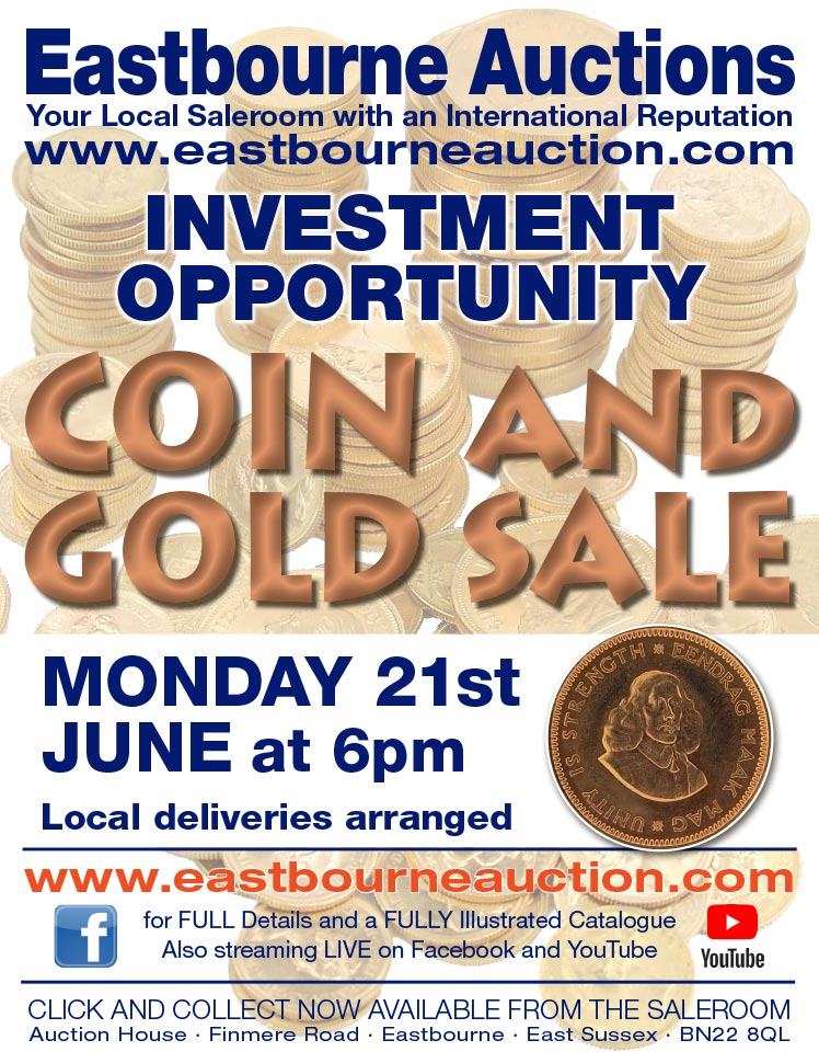 Eastbourne Auctions June Coins and Gold Sale advert on Bournefree Live news website