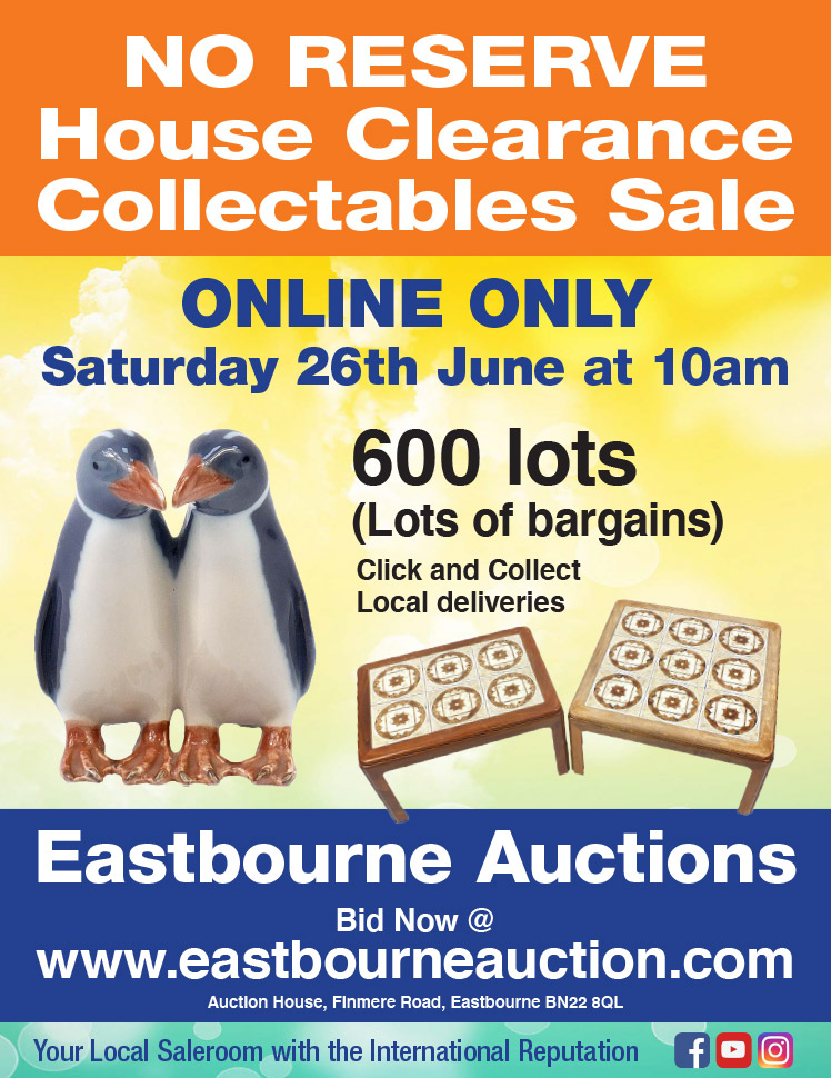 Eastbourne Auctions June House Clearance Sale advert on Bournefree Live news website