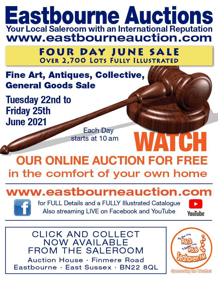 Eastbourne Auctions June Coin and Gold Sale advert on Bournefree Live news website