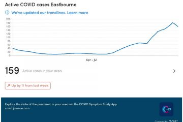 159 Covid cases in Eastbourne on Eastbourne Bournefree website