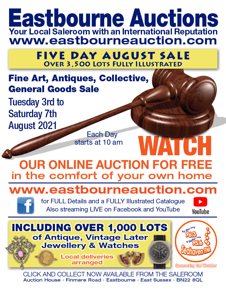 Eastbourne Auctions August Sale advert on Bournefree Live news website