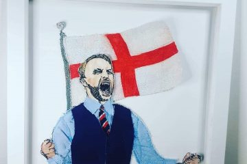 Bid to win this amazing embroidery of our Gareth - and help beat racism on Eastbourne Bournefree website