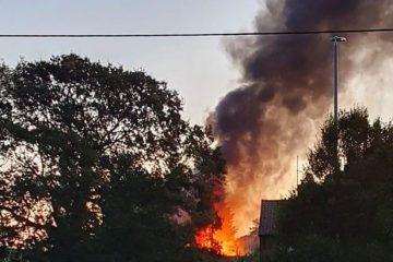 Explosion and fire behind caretaker's house at Hindslands, Eastbourne, this morning on Eastbourne Bournefree website