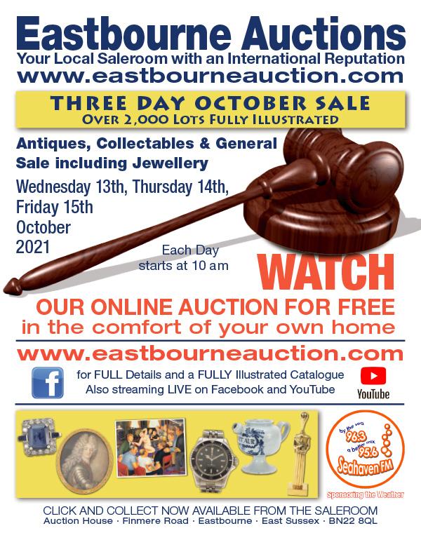 Eastbourne Auctions October Sale advert on Bournefree Live news website