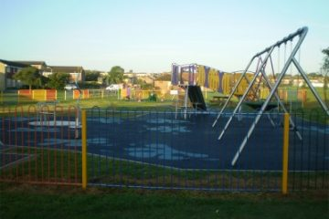 Glass broken by yobs and left on equipment at play area on Eastbourne Bournefree website